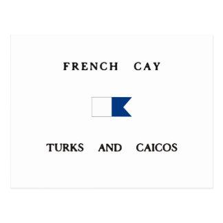Turcos franceses de la isleta y bandera alfa de la postal
