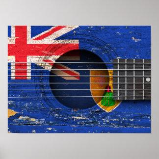 Turcos y bandera de Caicos en la guitarra acústica Impresiones