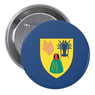 Turcos y bandera de Caicos Pin Redondo De 3 Pulgadas