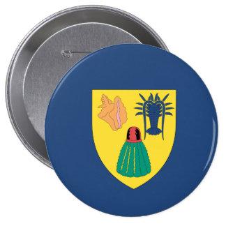 Turcos y bandera de Caicos Pin Redondo De 4 Pulgadas