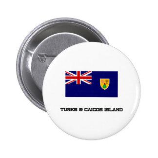 Turcos y bandera de la isla de Caicos Pin Redondo De 2 Pulgadas