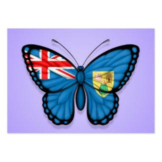 Turcos y bandera de la mariposa de Caicos en púrpu Plantillas De Tarjeta De Negocio