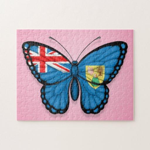 Turcos y bandera de la mariposa de Caicos en rosa Rompecabezas Con Fotos