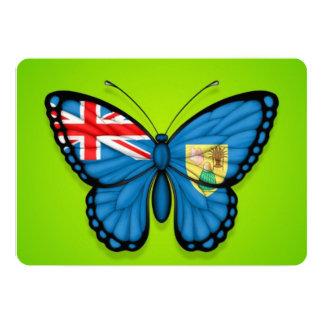 """Turcos y bandera de la mariposa de Caicos en verde Invitación 5"""" X 7"""""""