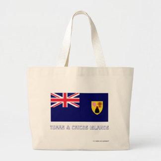 Turcos y bandera de las islas de Caicos con nombre Bolsa Tela Grande