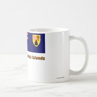 Turcos y bandera de las islas de Caicos con nombre Taza