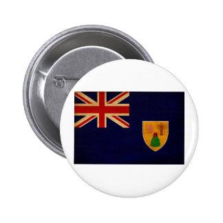 Turcos y botones de la bandera de Caicos Pin Redondo De 2 Pulgadas