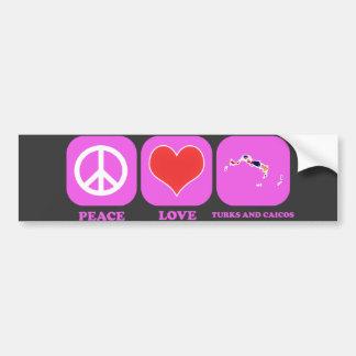 Turcos y Caicos del amor de la paz Pegatina De Parachoque