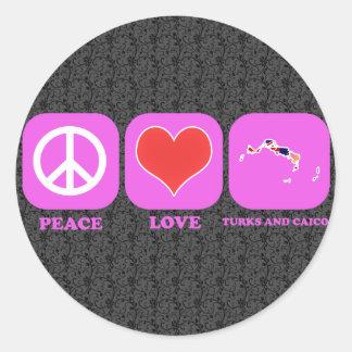 Turcos y Caicos del amor de la paz Etiqueta Redonda