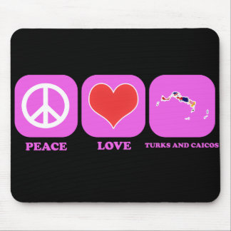Turcos y Caicos del amor de la paz Alfombrilla De Ratón