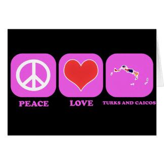 Turcos y Caicos del amor de la paz Tarjetón