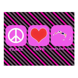 Turcos y Caicos del amor de la paz Postal