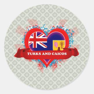 Turcos y Caicos del amor del vintage I Pegatinas Redondas