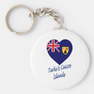 Turcos y corazón de la bandera de las islas de Cai Llavero