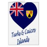 Turcos y corazón de la bandera de las islas de Cai Tarjeton