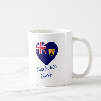 Turcos y corazón de la bandera de las islas de Cai Tazas De Café