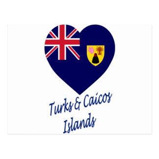 Turcos y corazón de la bandera de las islas de postal