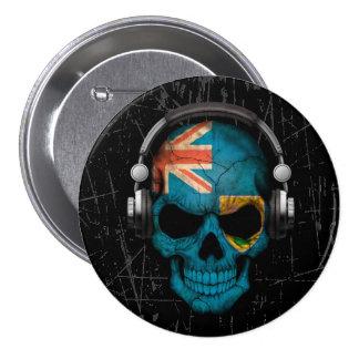 Turcos y cráneo rasguñados de Caicos DJ Pin Redondo De 3 Pulgadas