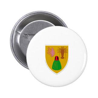 Turcos y escudo de armas de Caicos Pin Redondo De 2 Pulgadas