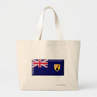 Turcos y joya de la bandera de las islas de Caicos Bolsa Tela Grande