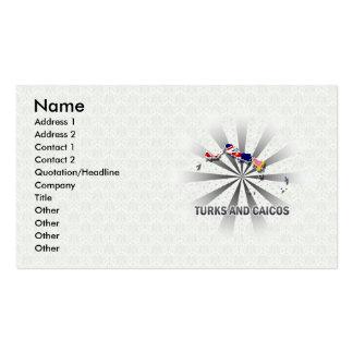 Turcos y mapa 2,0 de la bandera de Caicos Tarjetas De Visita