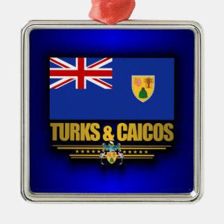 Turcos y orgullo de Caicos Adorno Navideño Cuadrado De Metal