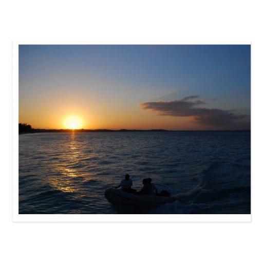 Turcos y puesta del sol de Caicos Postal