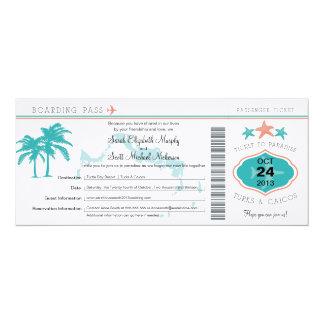 """Turcos y reserva de Caicos el documento de Invitación 4"""" X 9.25"""""""