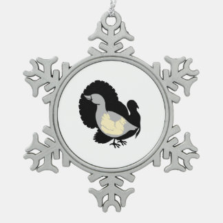 Turducken Snowflake Pewter Christmas Ornament