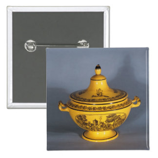 Tureen with black print design, c.1820 pinback buttons