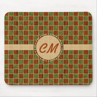 Turf Wood Checker Pattern Mouse Pad