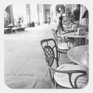 Turín Italia, café y arcada Pegatina Cuadrada