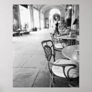 Turín Italia, café y arcada Póster