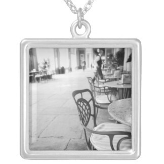 Turin Italy, Cafe and Archway Silver Plated Necklace