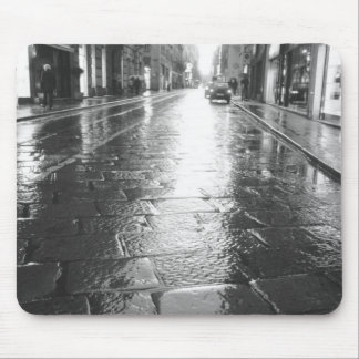 Turin Italy, Wet Street Evening Mouse Pad