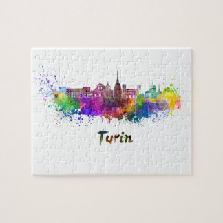 Turin skyline in watercolor jigsaw puzzle