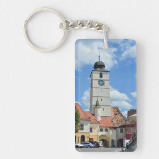 turismo Rumania de la arquitectura de la torre del Llavero Rectangular Acrílico A Una Cara