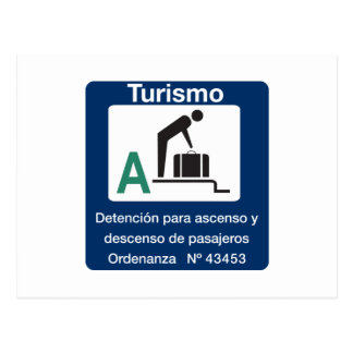 Turist Stop Point, Traffic Sign, Argentina Post Card