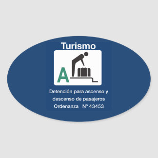 Turist Stop Point, Traffic Sign, Argentina Oval Sticker