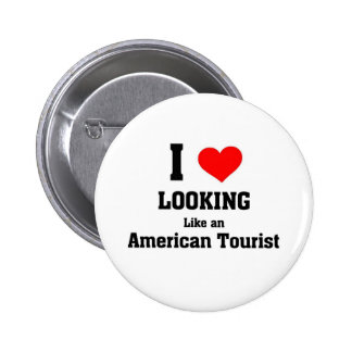 Turista americano pin redondo de 2 pulgadas