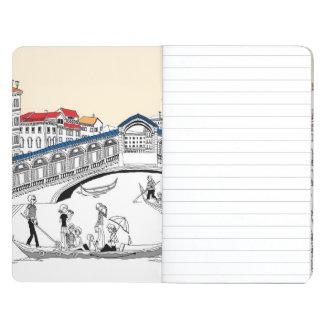 Turista que viaja en barcos cuaderno