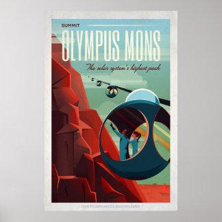 Turista retro del espacio de Marte Olympus Mons Póster