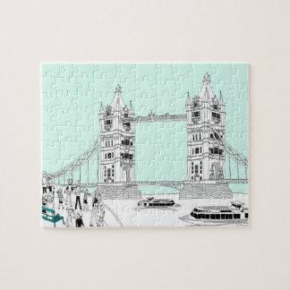 Turistas cercando con barandilla puzzle