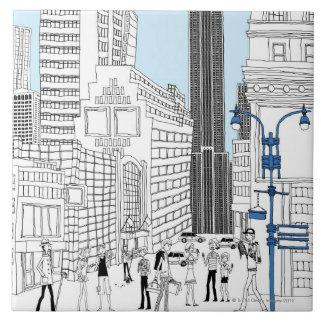 Turistas que caminan azulejo cuadrado grande