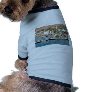 Turistas que esperan para subir en un barco ropa perro