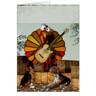 Turkey Acoustic Guitar Hay bale Thanksgiving Card