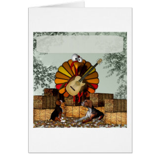Turkey Acoustic Guitar Hay bale Thanksgiving Greeting Card