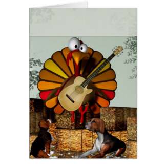 Turkey Acoustic Guitar Hay bale Thanksgiving Cards