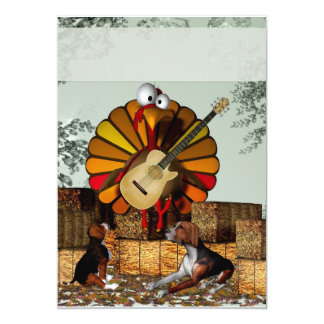 "Turkey Acoustic Guitar Hay bale Thanksgiving 5"" X 7"" Invitation Card"
