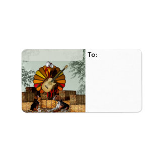 Turkey Acoustic Guitar Hay bale Thanksgiving Address Label